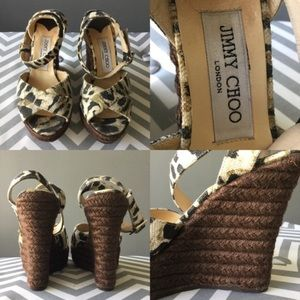 JIMMY CHOO LEOPARD OPEN TOE WEDGE SANDALS PHYLLIS